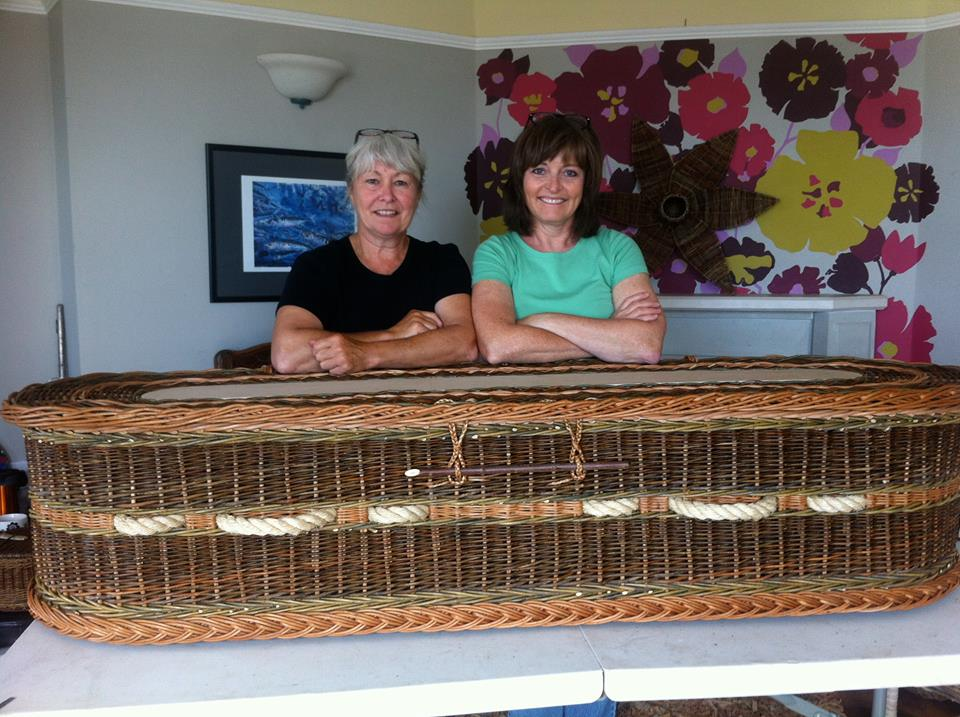 During our BIG week of weaving with Mel, we created a full size willow coffin. It took a lot of weaving from the two of us and massive patience from Mel to complete this project in 4 1/2 days. We are really pleased with the result and hope to visit with Mel again, maybe willow sculpture next time, eh Mel?
