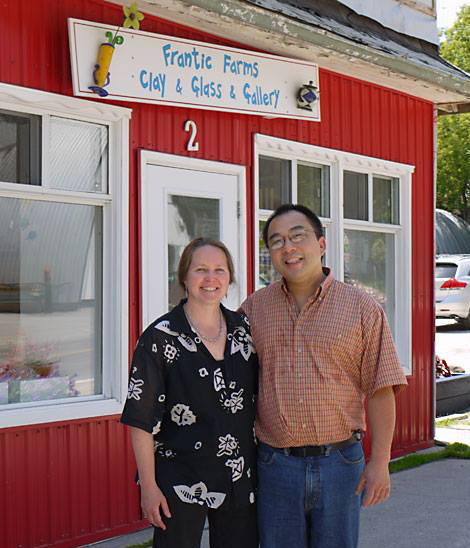 Monica and Paulus in front of Frantic Farms