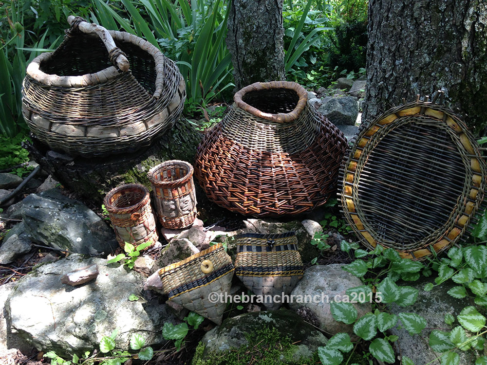 Our lovely baskets after five days of weaving with Ane Lyngsgaard.