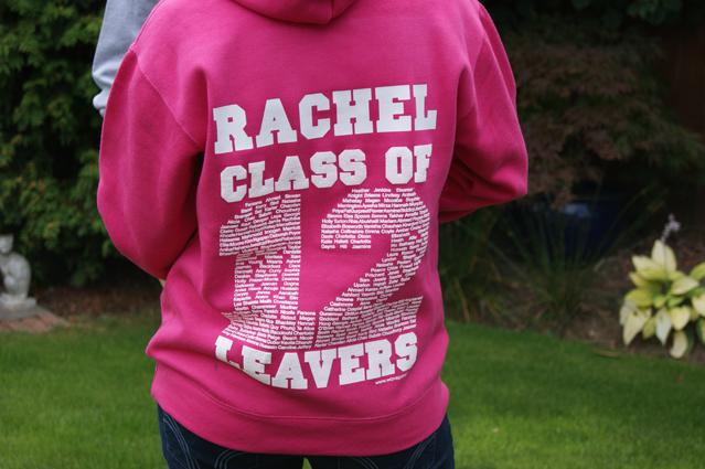 Pink leavers hoodie with personalisation