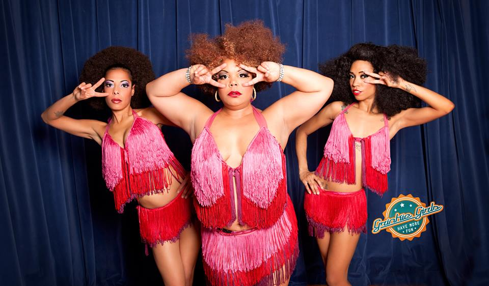 Jeez Loueez is also a member of Foxy Tann & the Wham Bam Thank You Maam's. Shown (left to right) Red Bone, Foxy Tann, Jeez Loueez