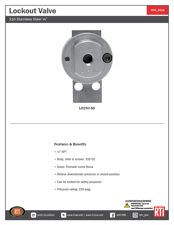 i094 Stainless Steel Lockout Valve