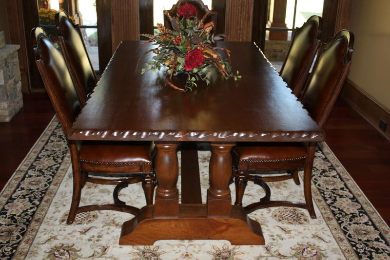 Custom Trestle Table with Scalloped Edge Trim