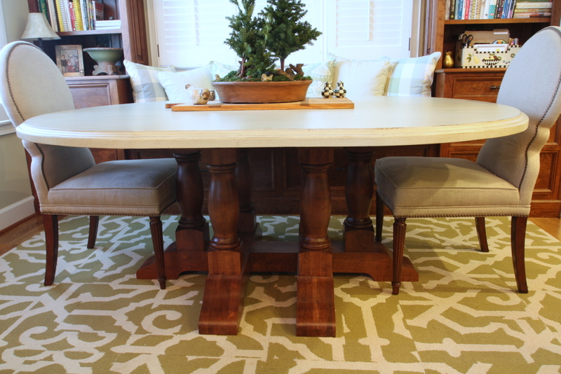 Six Leg Table Base in English Chestnut Stain, with Oval Top in Richmond Gray Finish