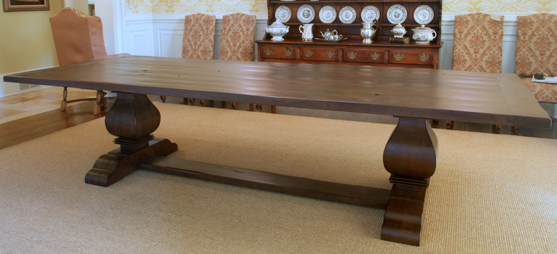 """Custom Trestle Table with 2"""" Thick Wood Top in Custom Color Match"""