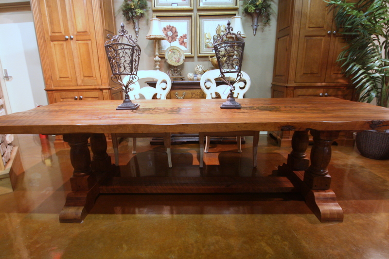 Farm House Style Trestle Table in Waxed Color Stain Finish