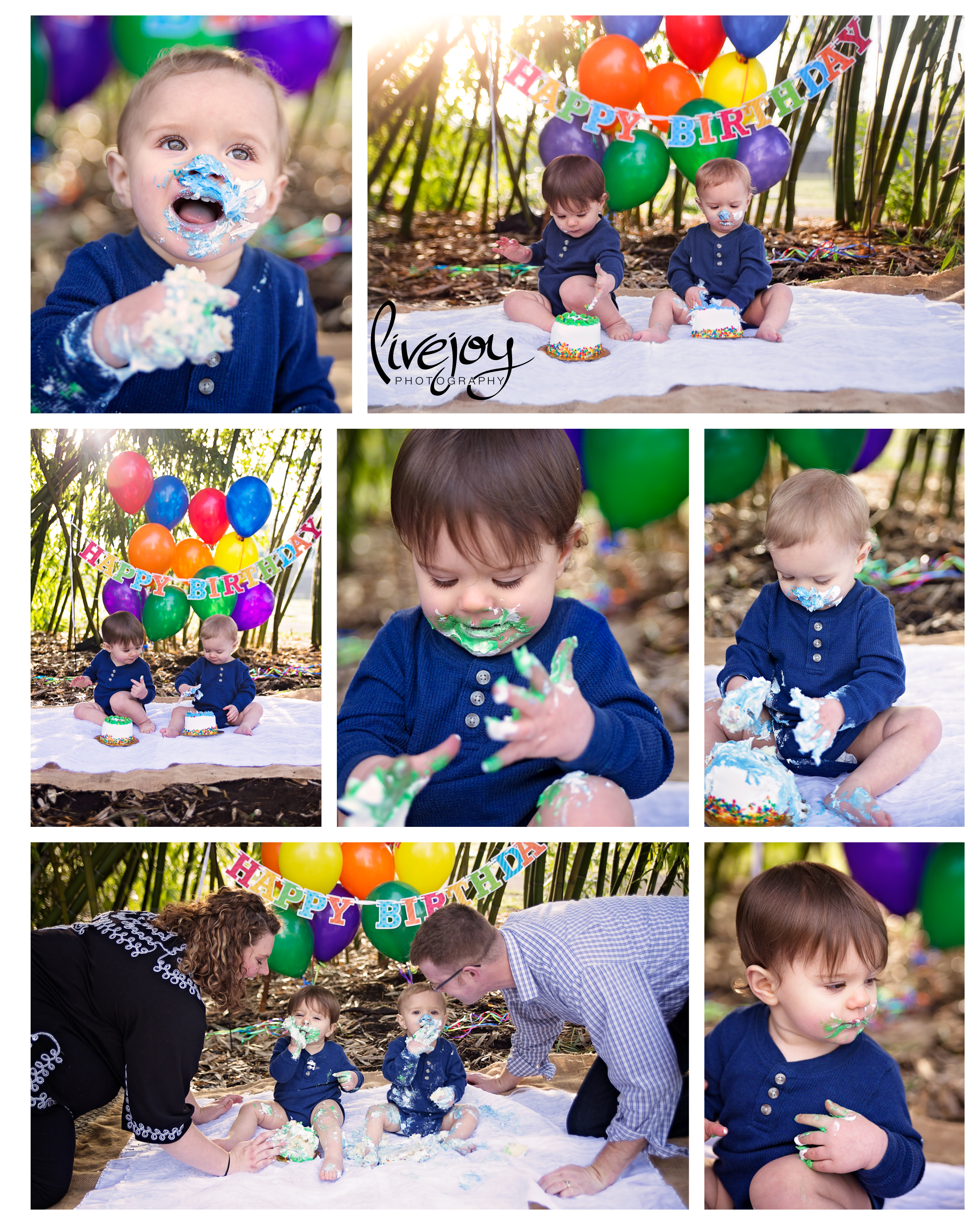 Twin Boys 1 Year Cake Smash Session | LiveJoy Photography