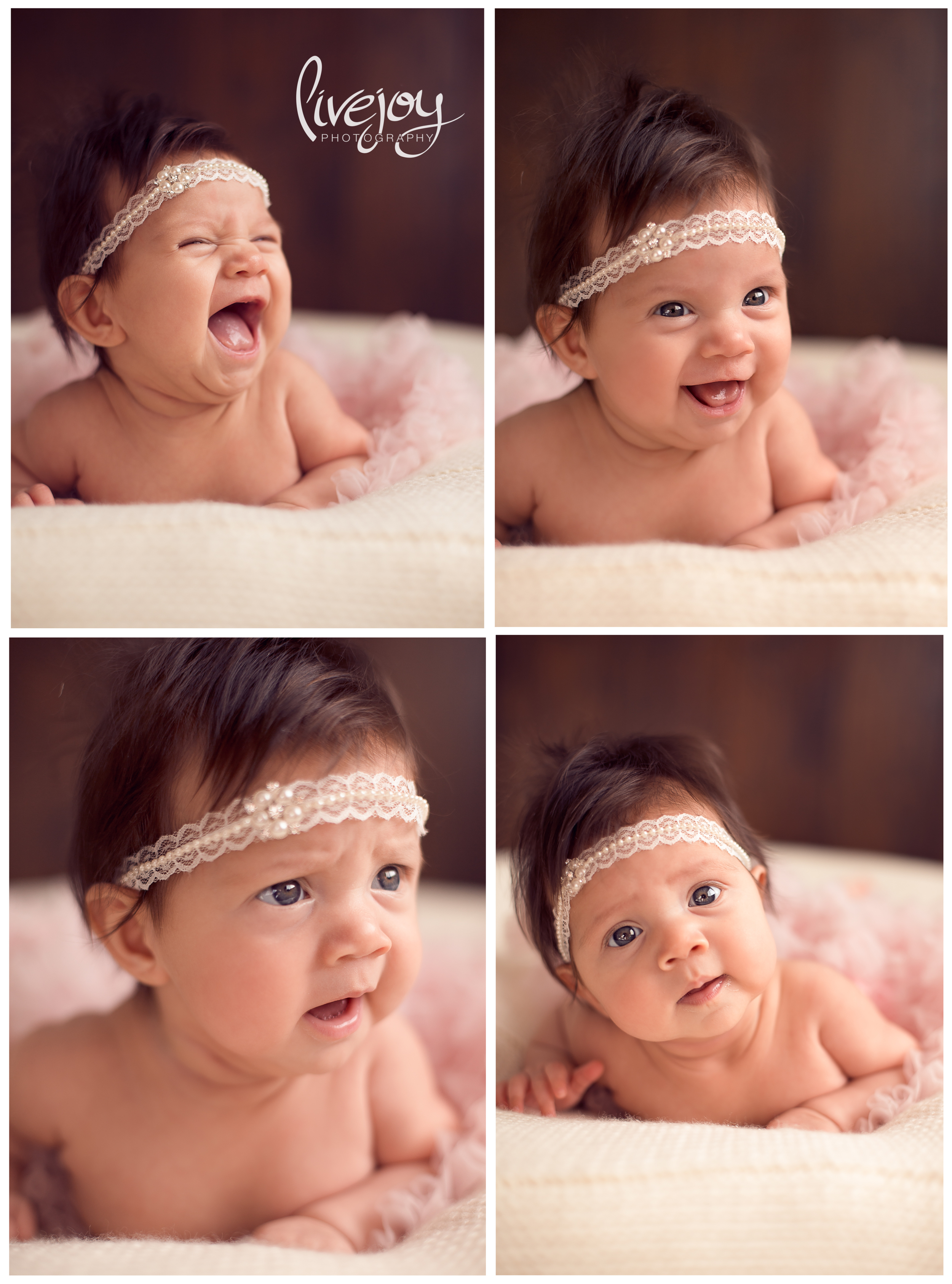 The many hilarious faces of Leila :) 3 Month Baby Photos | LiveJoy Photography | Oregon