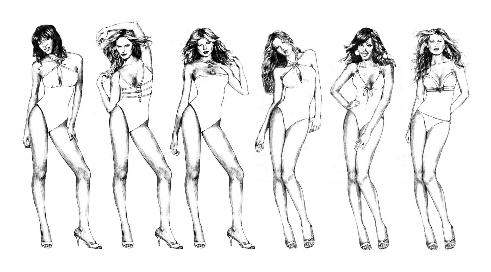 Christina Swimwear Illustrations