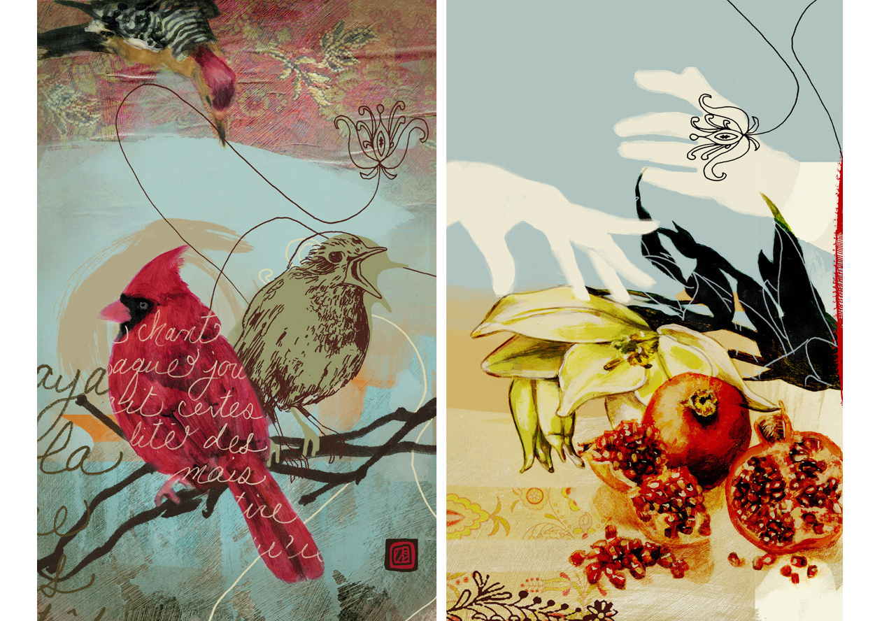 Birds and Pomegranate