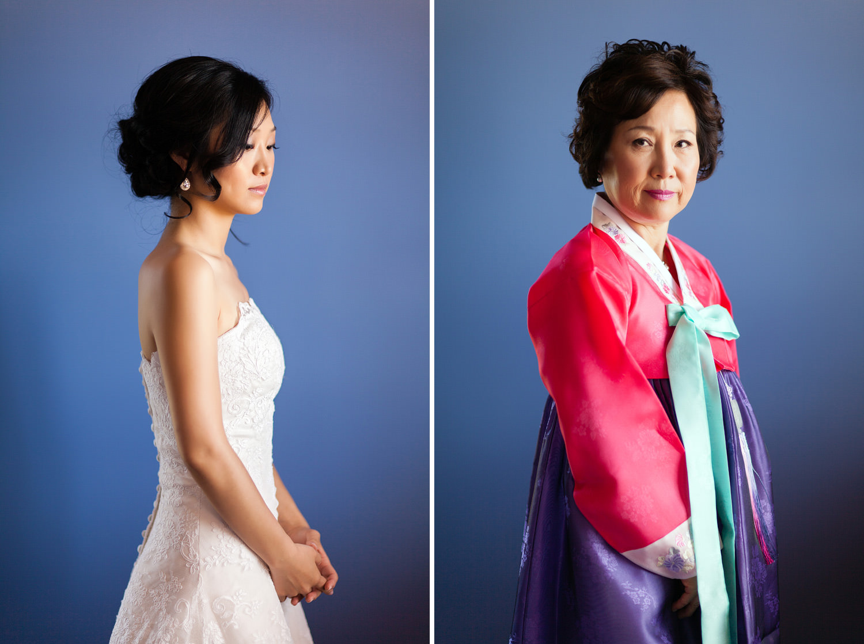 bride and mother color portrait