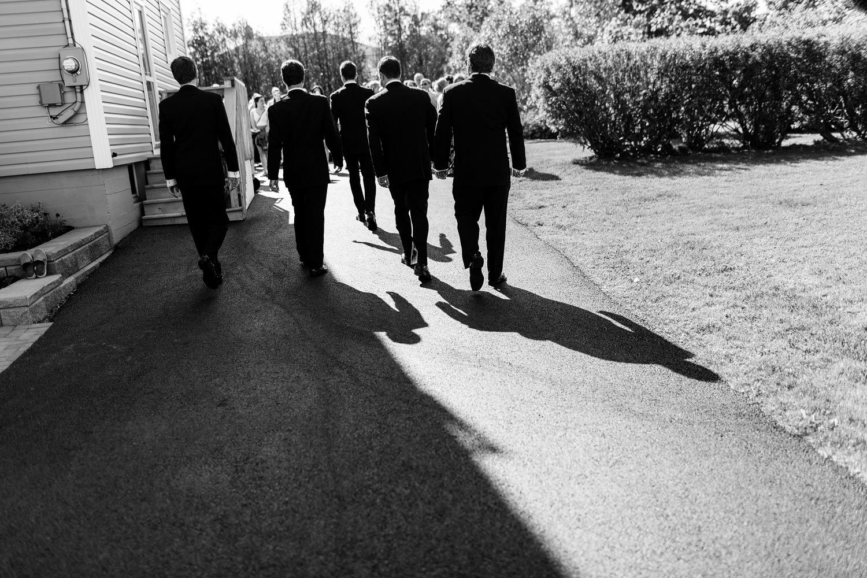 groomsmen wedding ceremony black and white