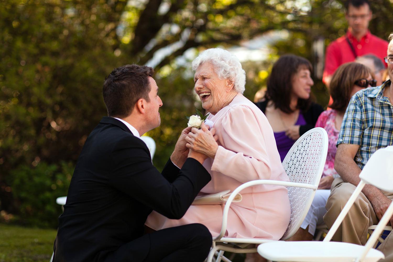 groom with grandmother wedding