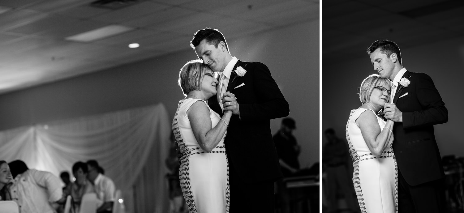 mother and son first dance black and white