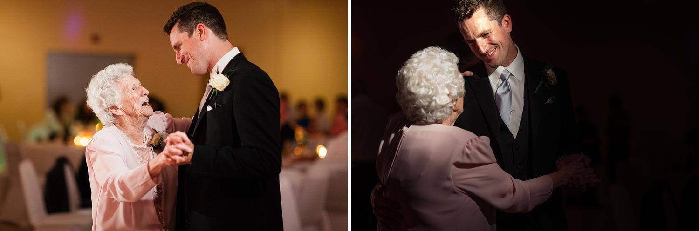 grandmother and grandson dance wedding reception