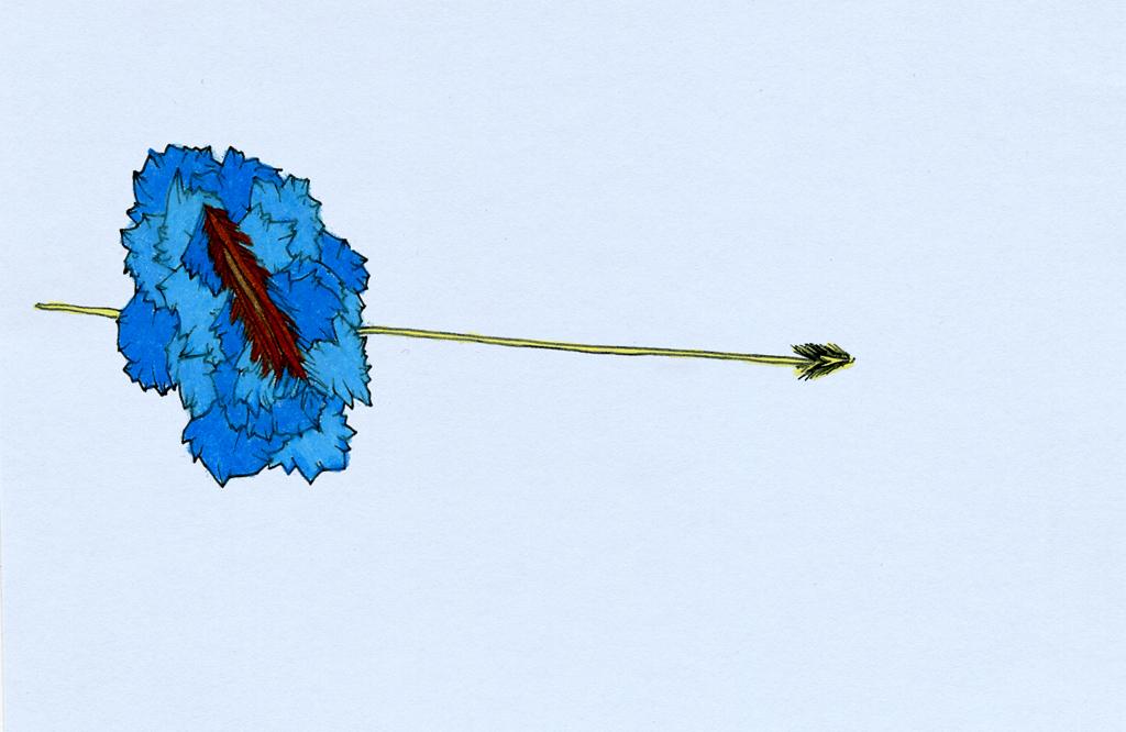 """Blue Feather Arrow, 5"""" x 3.25"""", 2003"""
