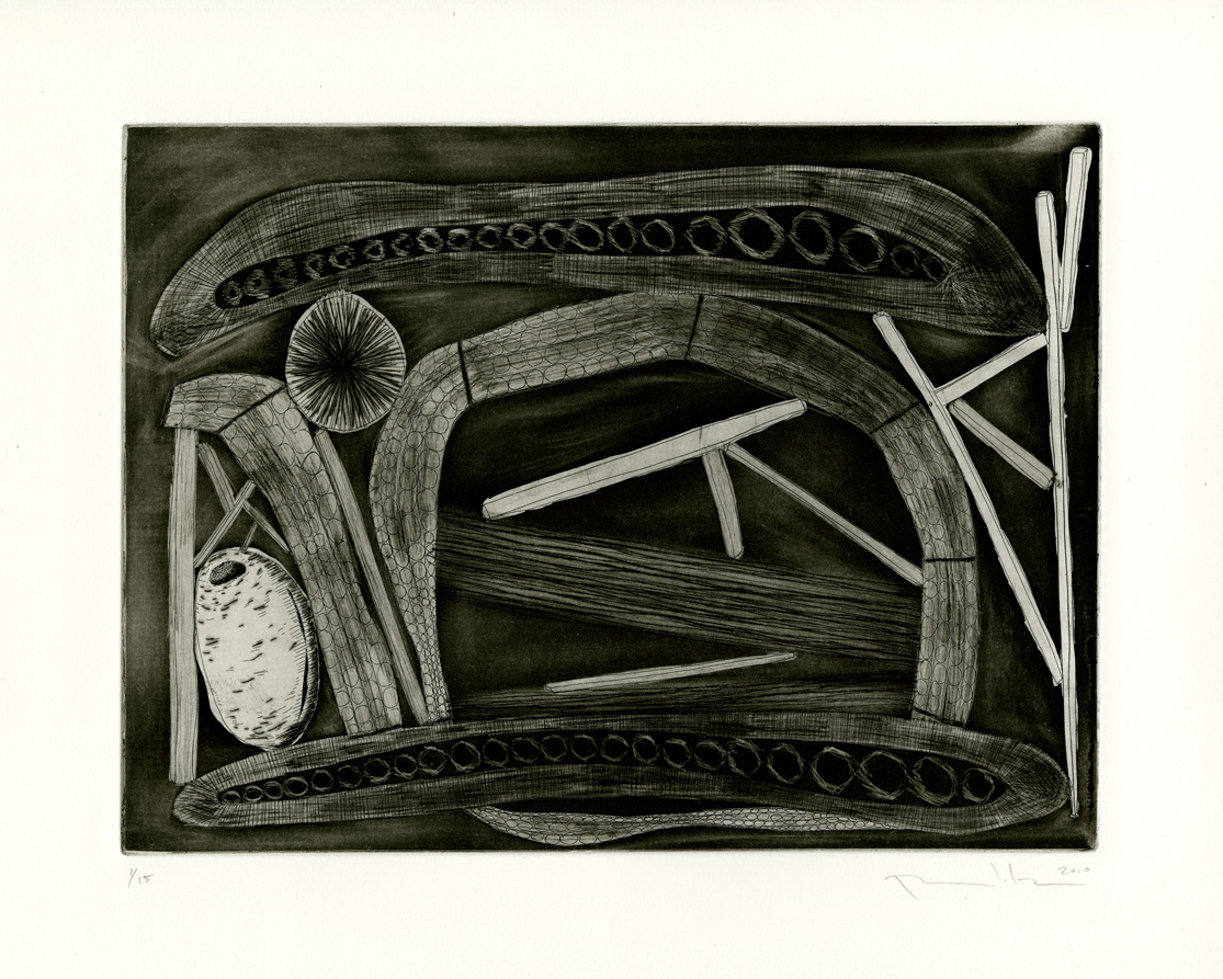 "Pattie Lee Becker, Blockaded Inside Dream Travel, etching, 9"" x 12"", 2010"
