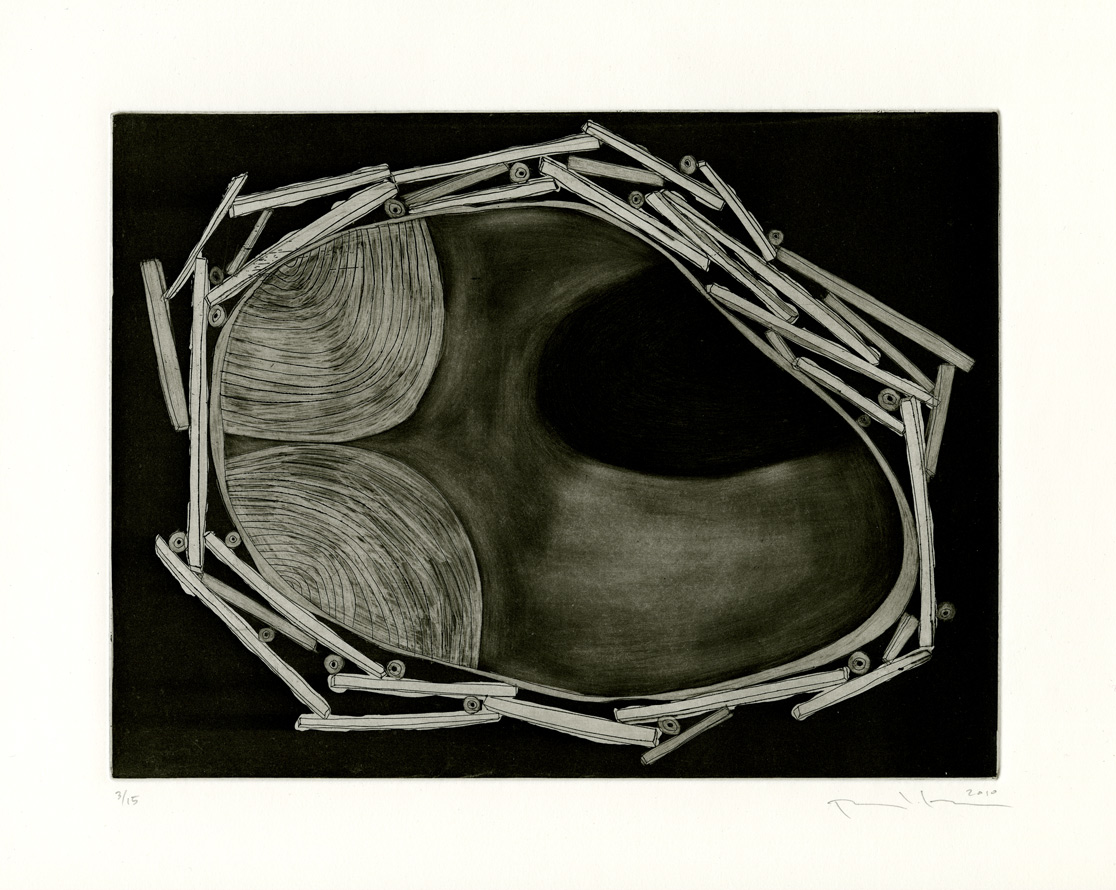 "Pattie Lee Becker, Intruder, etching, 9"" x 12"", 2010"