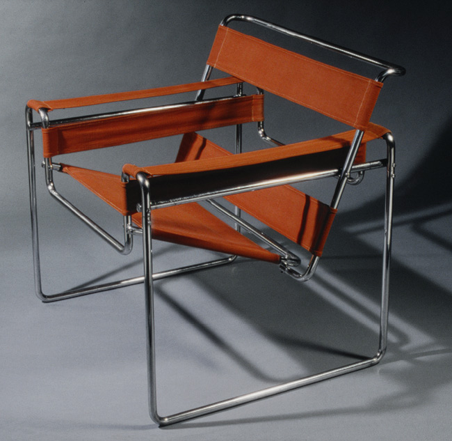 "Wassily"" chair , 1925 Marcel Breuer (American, born Hungary, 1902–1981) Chrome-plated steel, canvas upholstery"