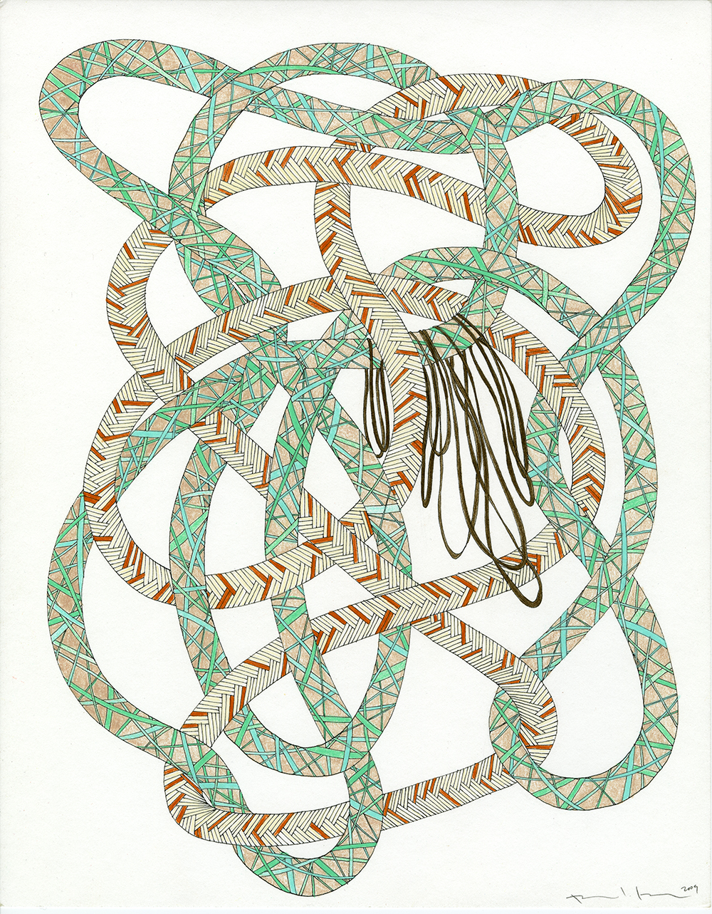 Ropes in Aqua, Rust, & Brown_11x14_2009_CC.jpg