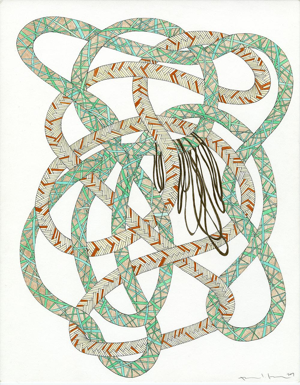 Ropes in Aqua, Rust, & Brown_11x14_2009_CC.jpg