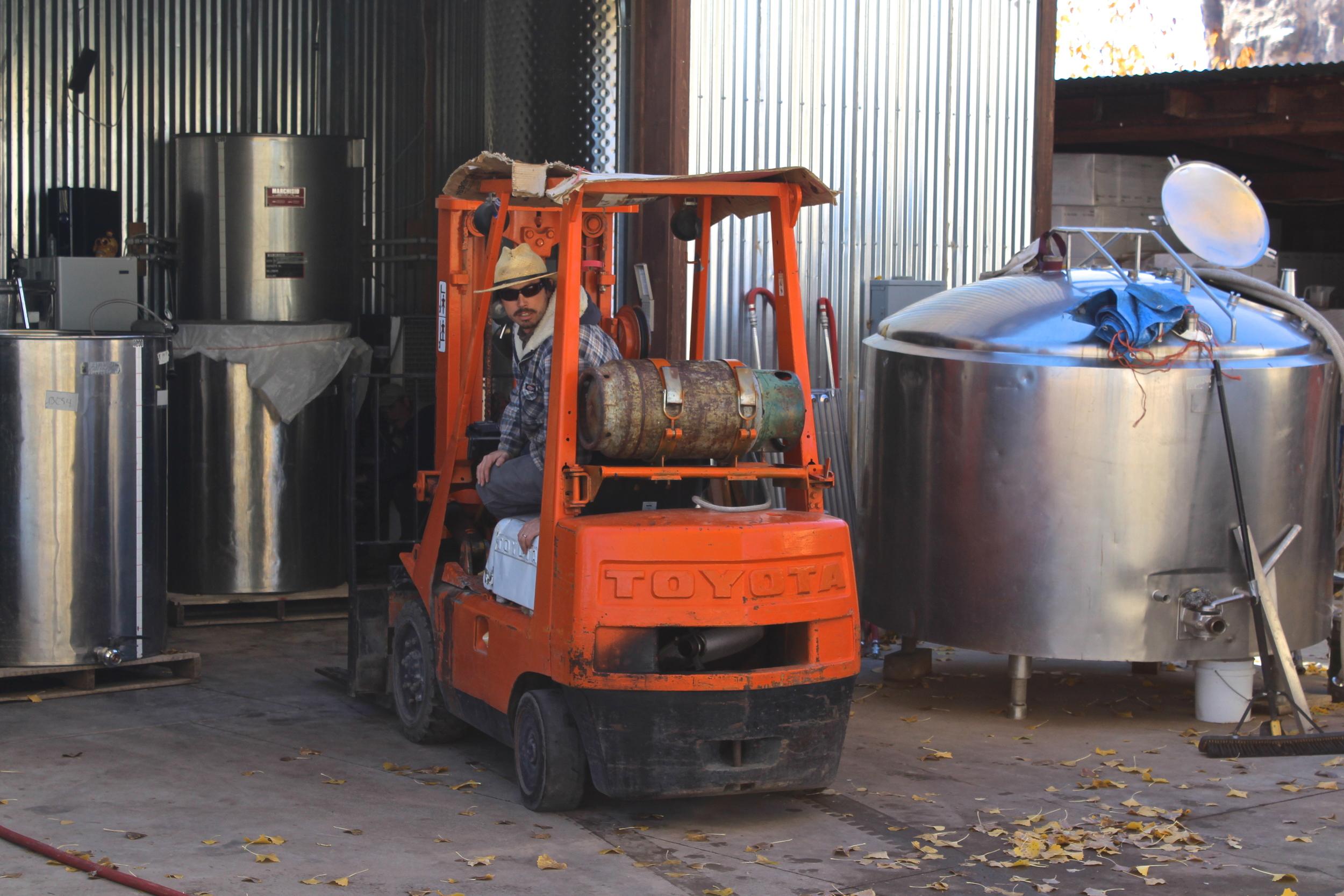 the very talented wine maker in action, Joe Buckel