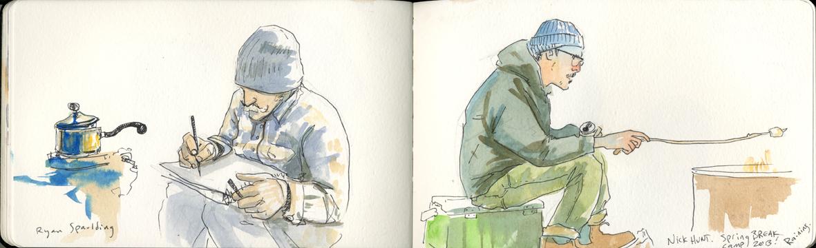 Ryan Spaulding and Nick Hunt camping