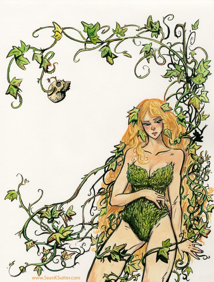Villain: Poison Ivy. ink+watercolor