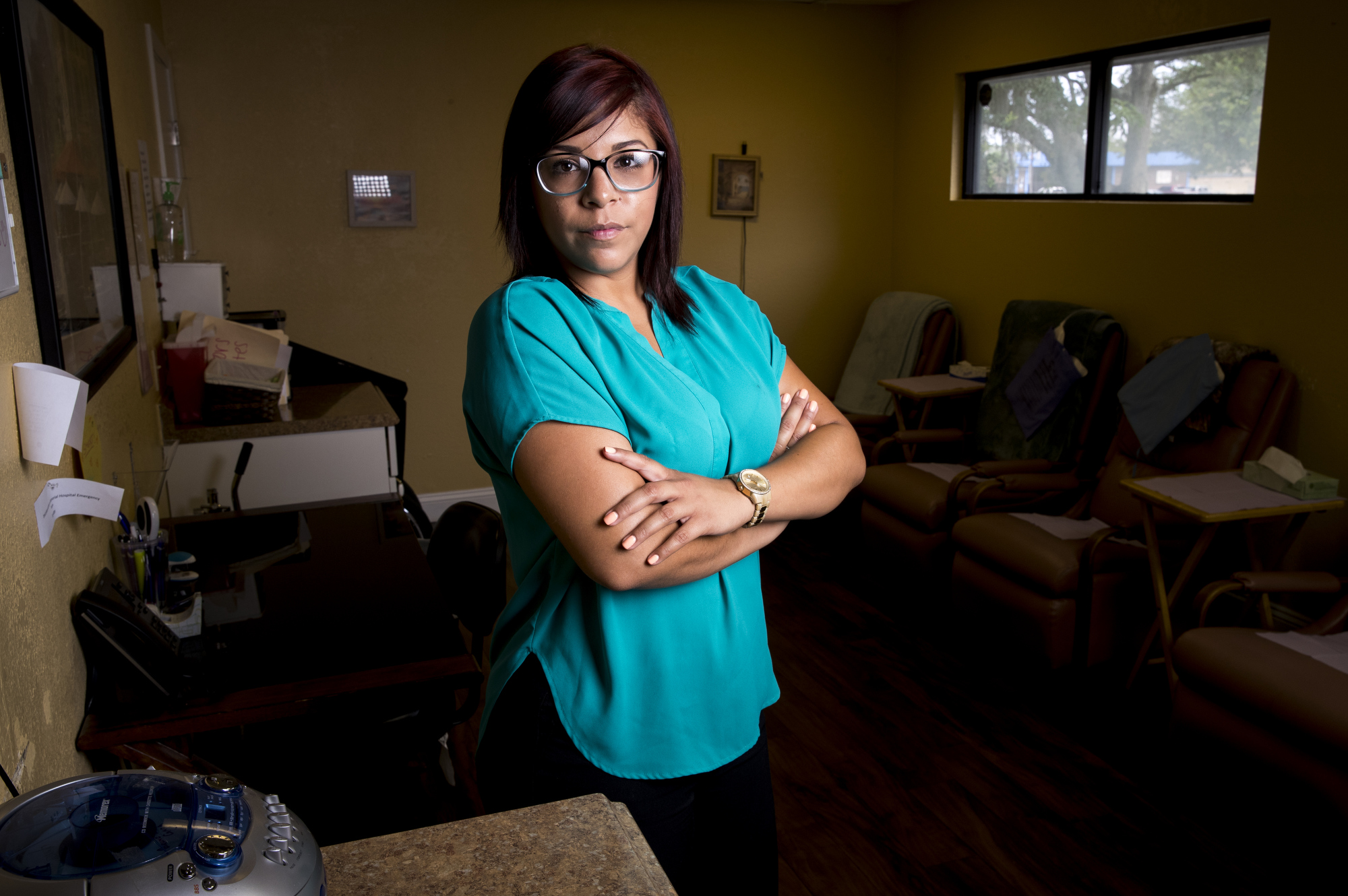 Michelle Mejia, a licensed practical nurse at a Woman's Choice
