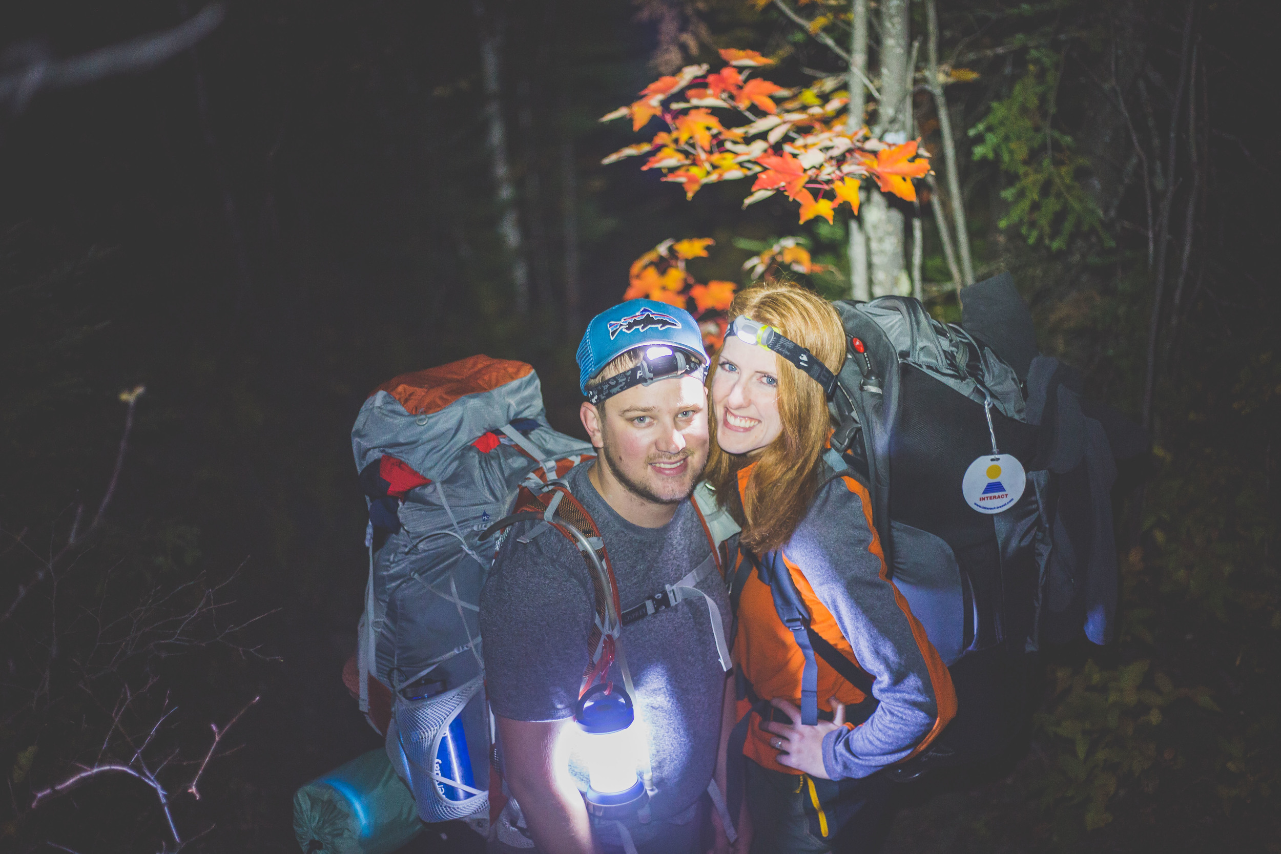 Proof that we actually hiked in at night, with everything on our backs.