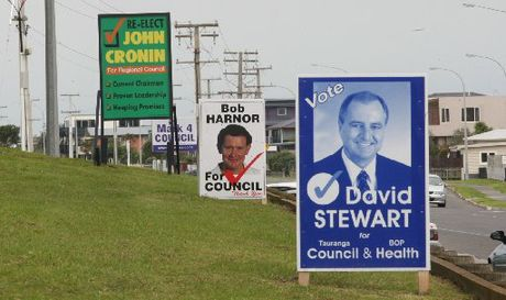 Election signs on the corner of Papamoa Beach Rd and Domain Rd - File