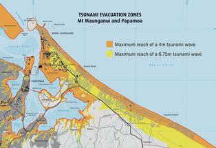 Map of Papamoa and Mount Maunganui tsunami evacuation zones.
