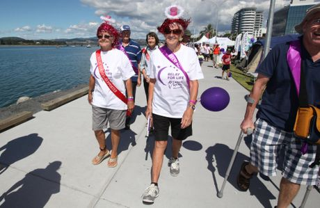 PROUD PARTICIPANTS: Gill Stock and Nancy Havekotte at the Relay for Life in downtown Tauranga - Joel Ford