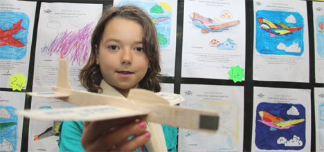 Bethlehem Primary School student Sophie Leaver with her 3D Kittyhawk colouring entry.