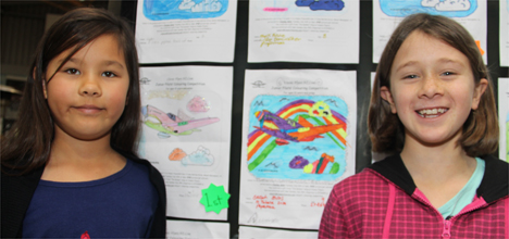 Jessica Chadwick and Sarah Burns with their colouring entries.