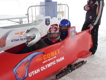 Tony (2nd from left) with Travis Thiele (3rd from left) doing the bobsled at Utah Olympic Park