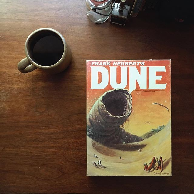 Finally came across one I've been wanting to add to the collection for years. Sometimes you will see an original 1979 Avalon Hill version of Dune pop up on eBay for $150-$200. I found this one at a store in great condition for $20 😳🤓☕️ #wkndboardgame #boardgamegeek
