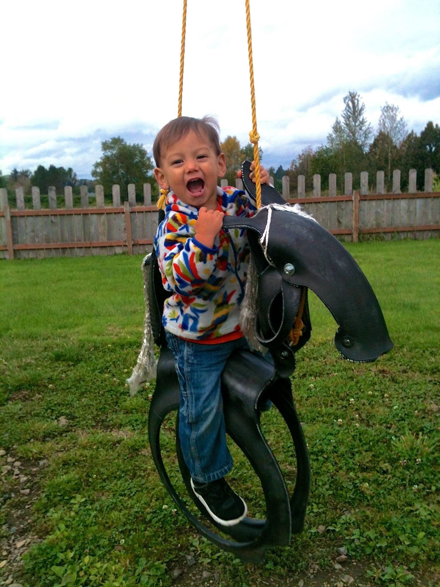 My son ridin' the cowboy way