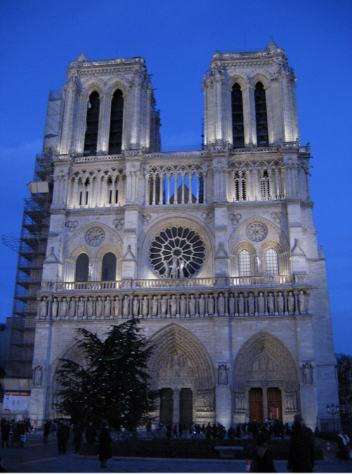 Notre Dame de Paris Cathedral and a Christmas Tree