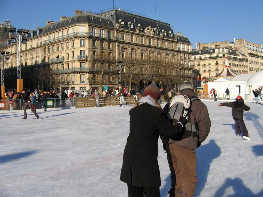 Ice skating on a temporary Paris ice rink