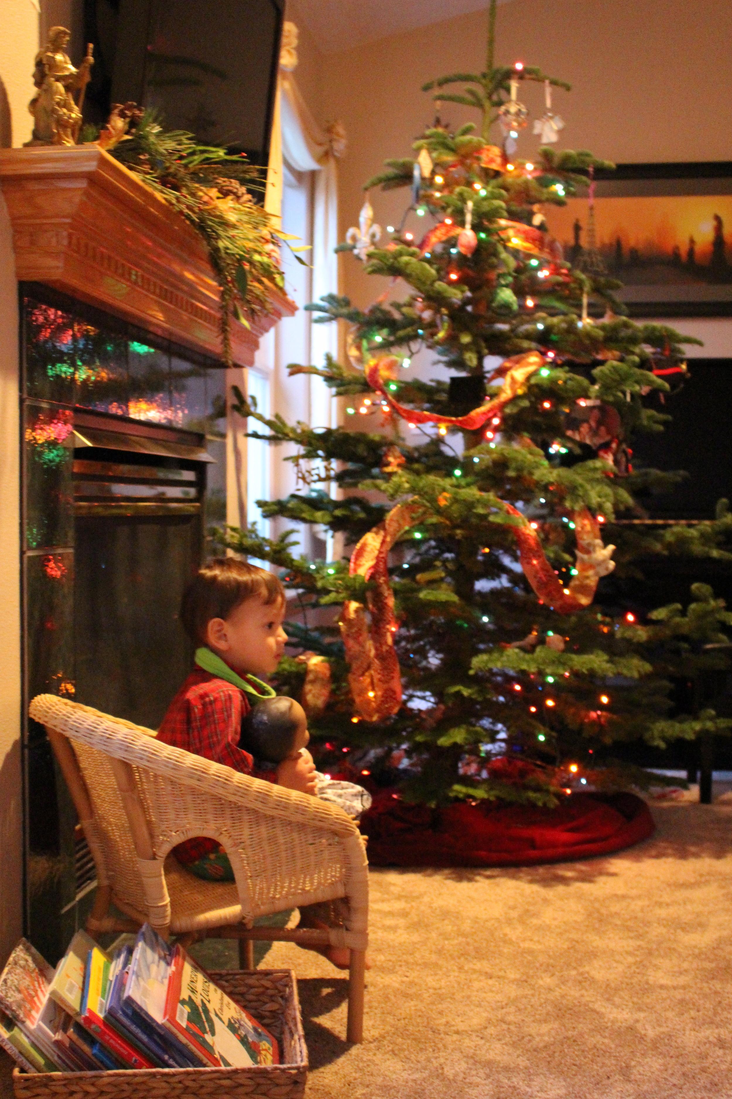 family room Christmas toddler decor Intentional Mama