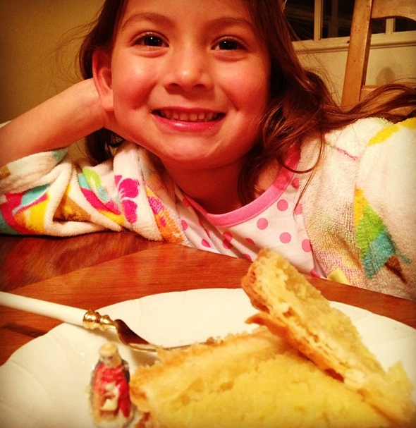 My daughter enjoying a galette des rois on Three Kings Day (via  Instagram )