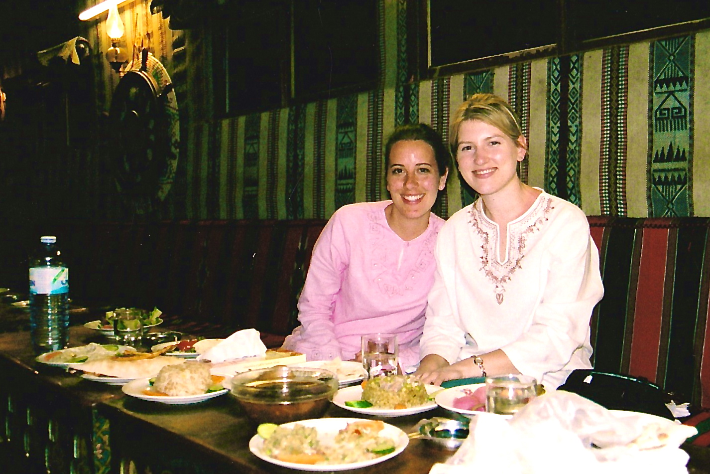 Enjoying a Middle Eastern meal with a friend
