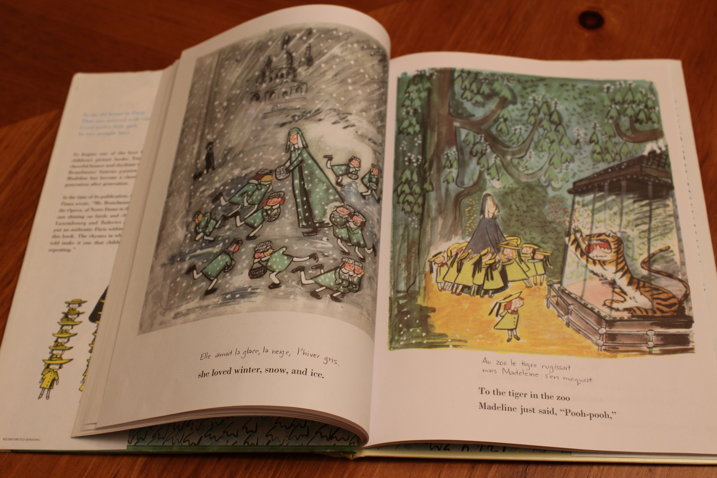 My handwritten translations in Madeline   by Ludwig Bemelmans