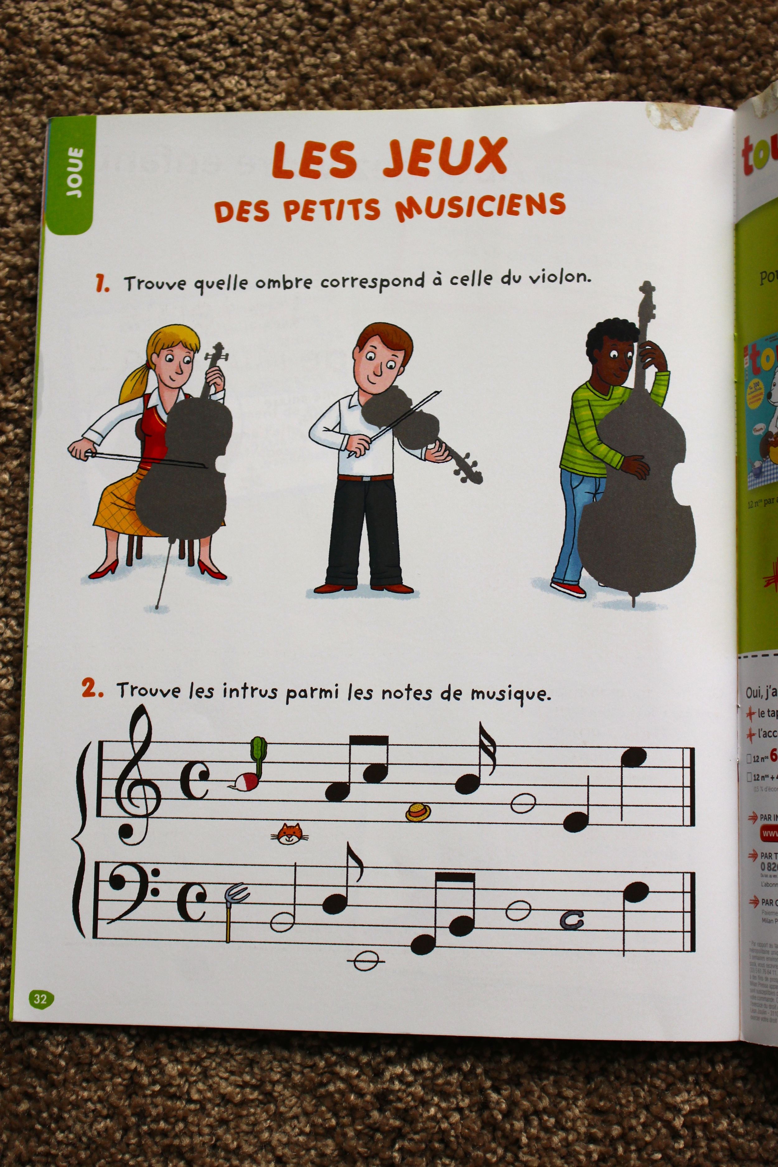 Toupie Chansons activity (one or two pages per issue)