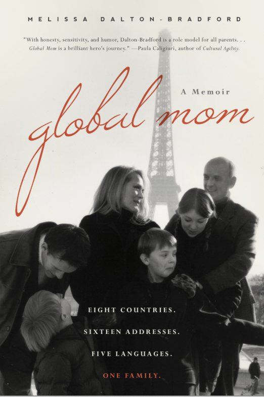 Melissa's book cover featuring her family when they lived in Paris