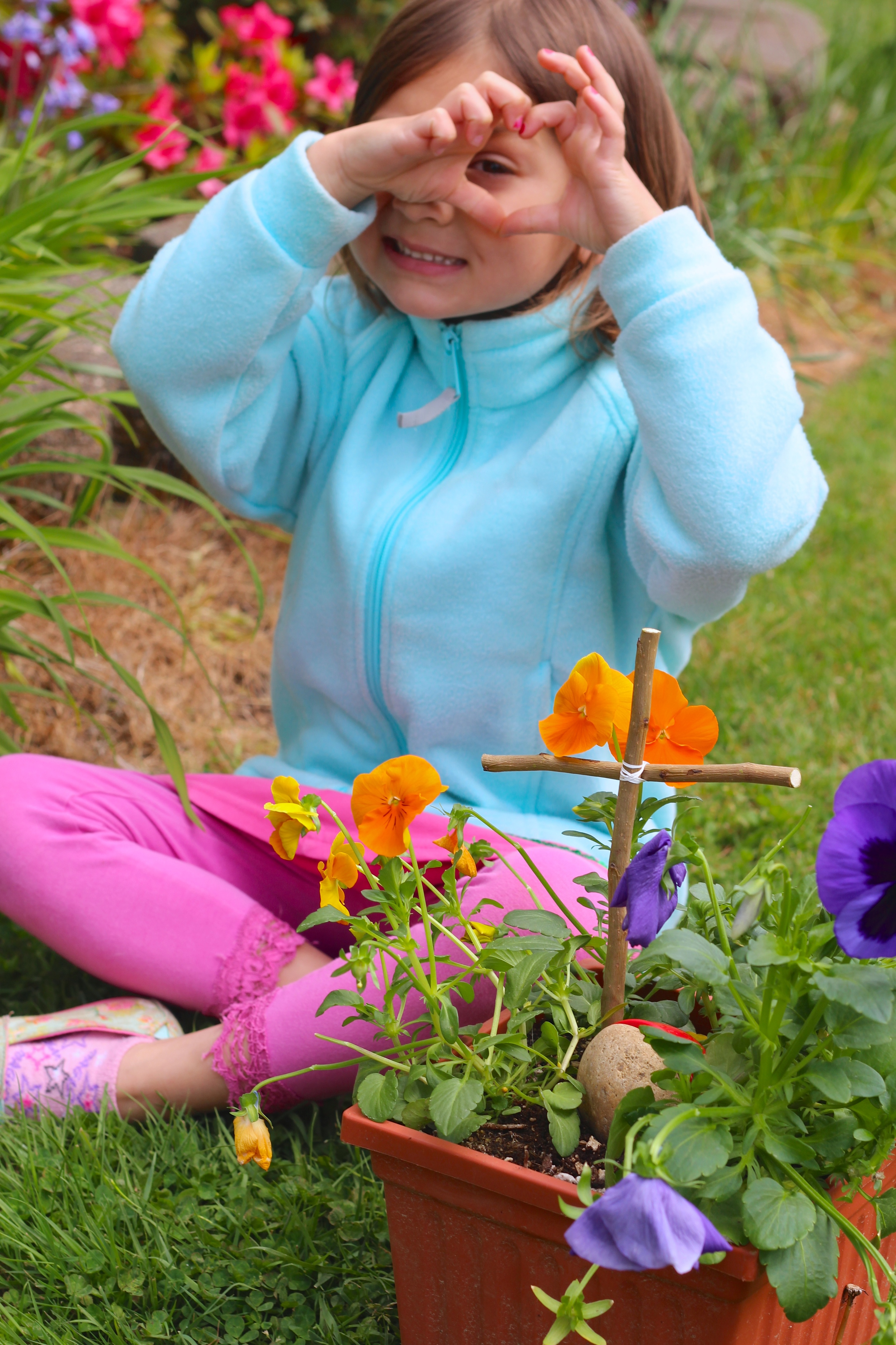 My daughter with herlittle Easter garden project