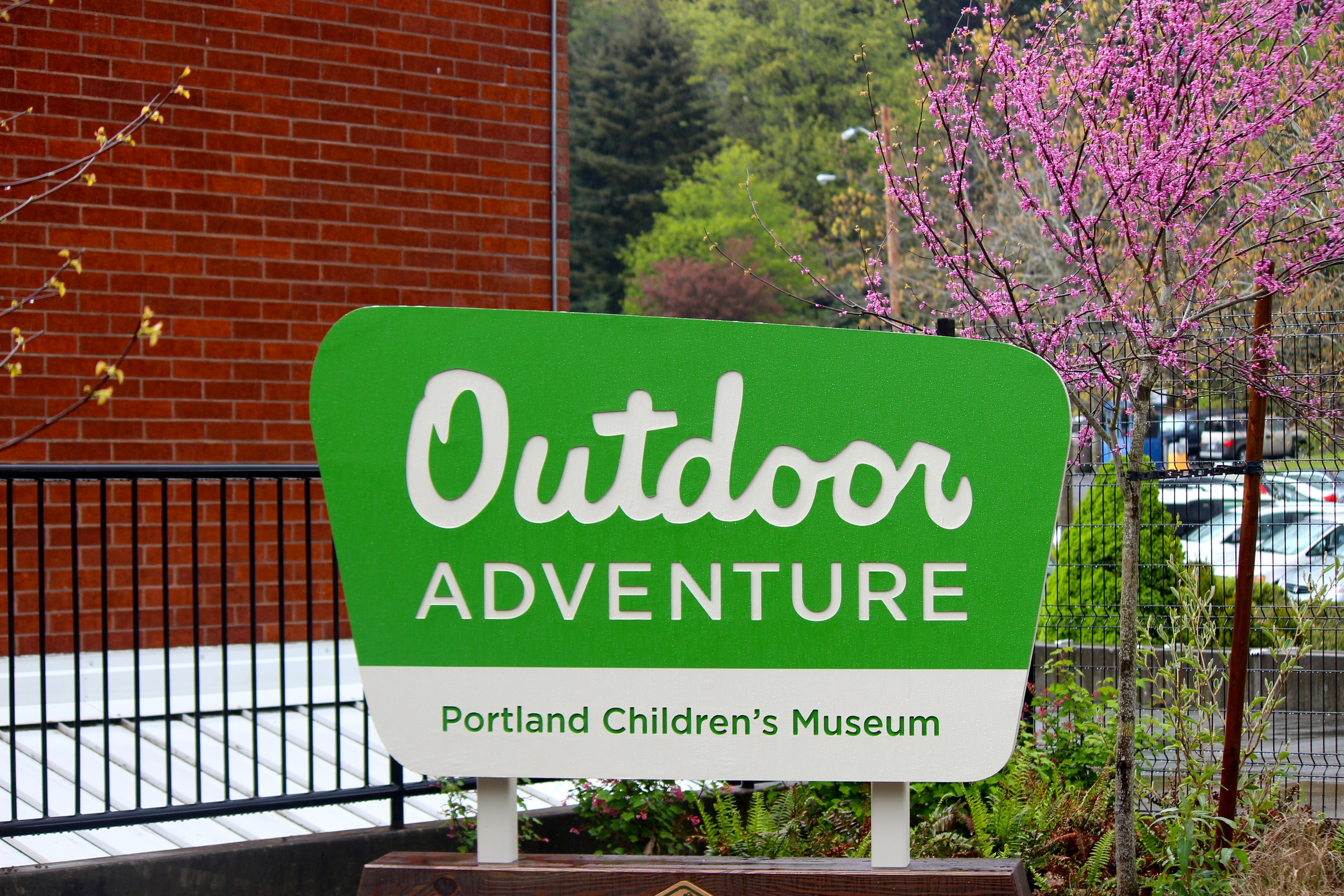 Signage for the newly opened  Outdoor Adventure  area at  Portland Children's Museum