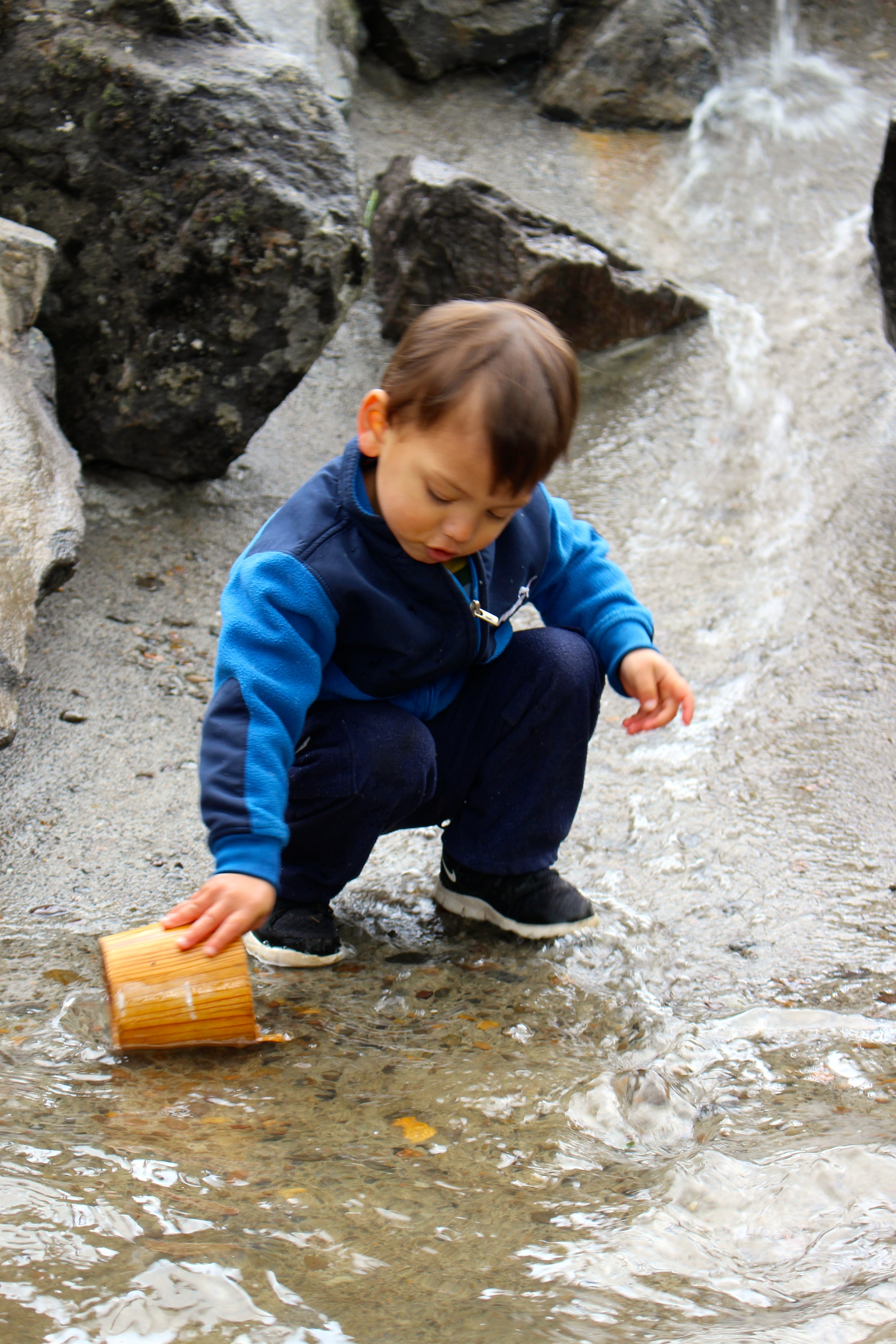 Playing in the creek with PCM's child-sized buckets