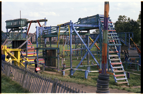 An adventure playground in London in the 1980s; photo by  Millerartwork